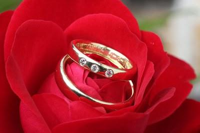 Klassiske vielsesringe i samme bredde og blank. Damemodellen har tre diamanter ved siden af hinanden.