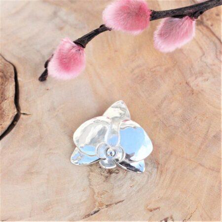 smukt orkide sølv vedhæng