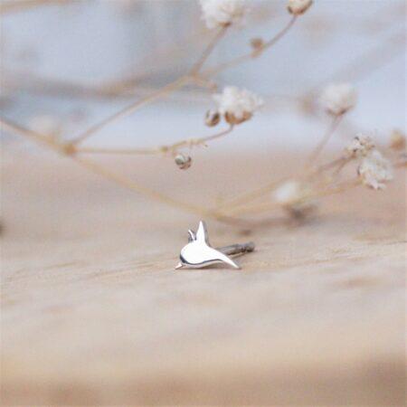 kolibri ørestik i sølv liggende på træ underlag.