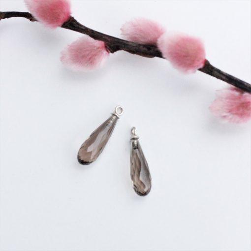 Røgkvarts charms til at sætte på ørebøjler eller hoops